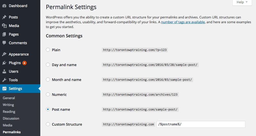 Screenshot of Permalink Settings Panel in WordPress