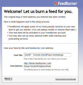Burning a feed with Feedburner