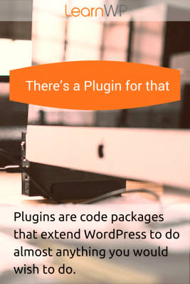 Plugins are code packages that extend WordPress to do almost anything you would wish to do.