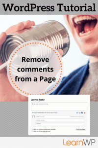 How to remove comments from a page