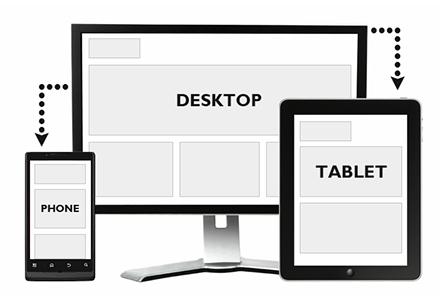 three screen sizes displayed Tablet, Phone, Desktop
