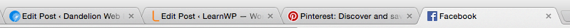 Screenshot of top of browser showing favicons