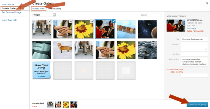 Screenshot Create a Gallery in WordPress