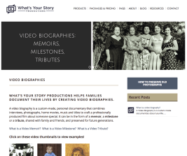 Screenshot What's Your Story Productions WordPress site