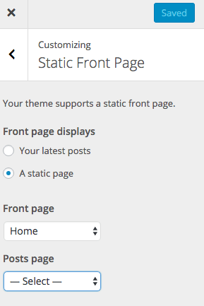 Screenshot of Customize Set a Static Home Page