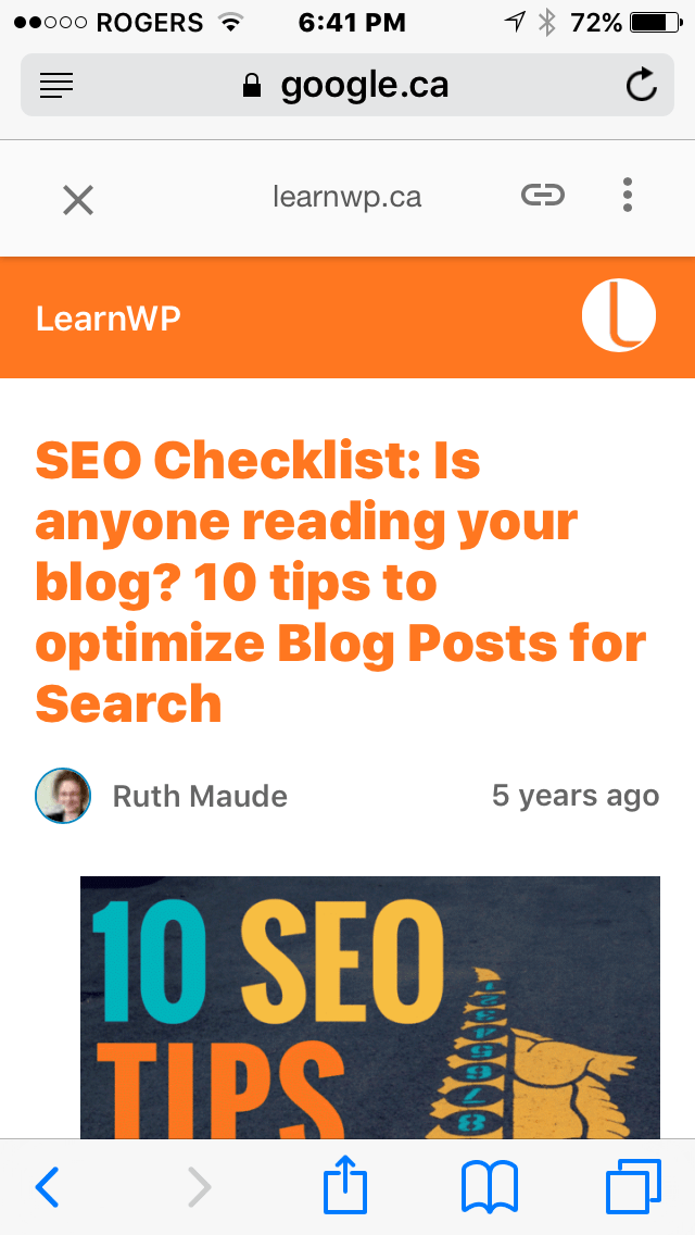 Screenshot showing WordPress Accelerated Mobile Pages version of blog post on LearnWP.ca