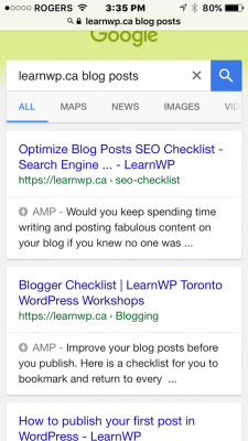 Phone Screenshot of Search Results Page showing AMP in search results