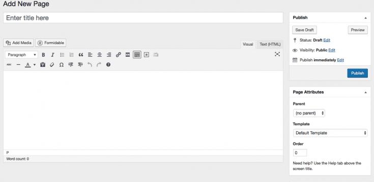 Classic WordPress Visual Editor