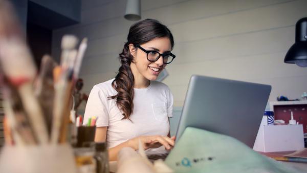 Artist at a laptop