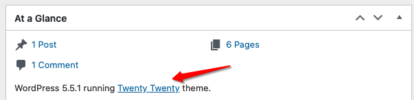 screenshot of At a Glance dashboard widget showing Twenty Twenty Theme